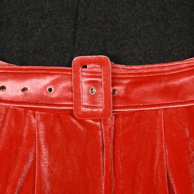 detailed neck wool knit & belted velvet slacks